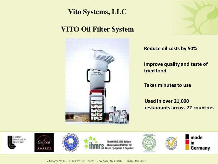 Vito Systems, LLC          VITO Oil Filter System                                                                        R...