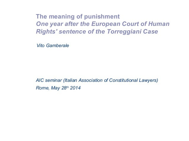 The meaning of punishment One year after the European Court of Human Rights' sentence of the Torreggiani Case Rome, May 28...