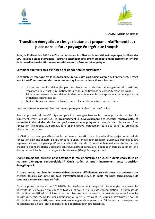 GPL    énergie exceptionnelle                                                                             COMMUNIQUE DE PR...