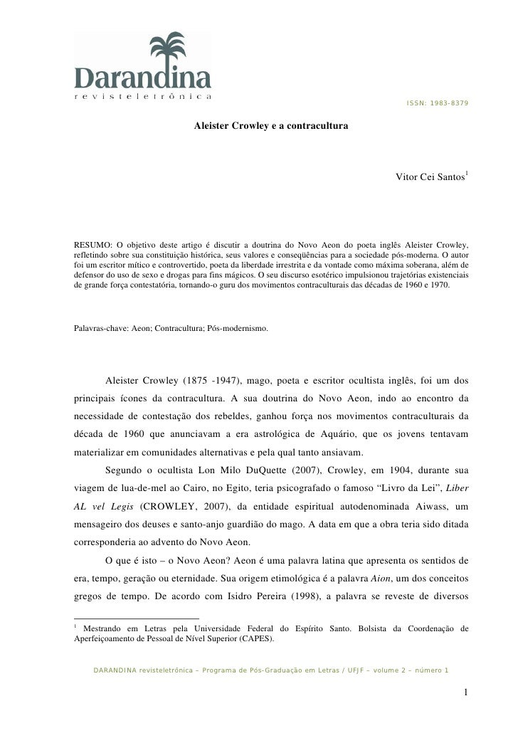 ISSN: 1983-8379                                     Aleister Crowley e a contracultura                                    ...