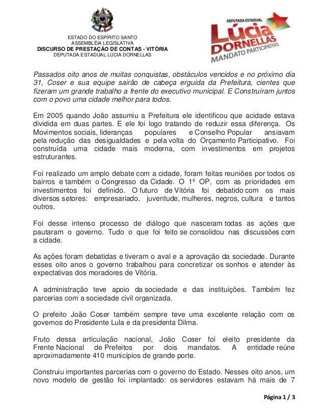 ESTADO DO ESPÍRITO SANTO           ASSEMBLÉIA LEGISLATIVA DISCURSO DE PRESTAÇÃO DE CONTAS - VITÓRIA      DEPUTADA ESTADUAL...
