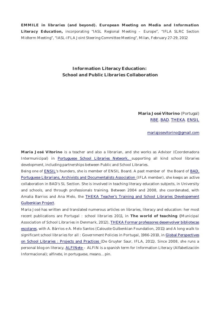 """EMMILE in libraries (and beyond). European Meeting on Media and InformationLiteracy Education, incorporating """"IASL Regiona..."""
