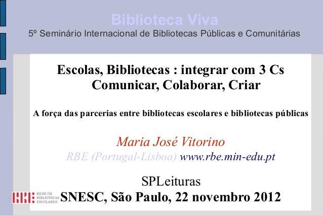 Biblioteca Viva5º Seminário Internacional de Bibliotecas Públicas e Comunitárias       Escolas, Bibliotecas : integrar com...
