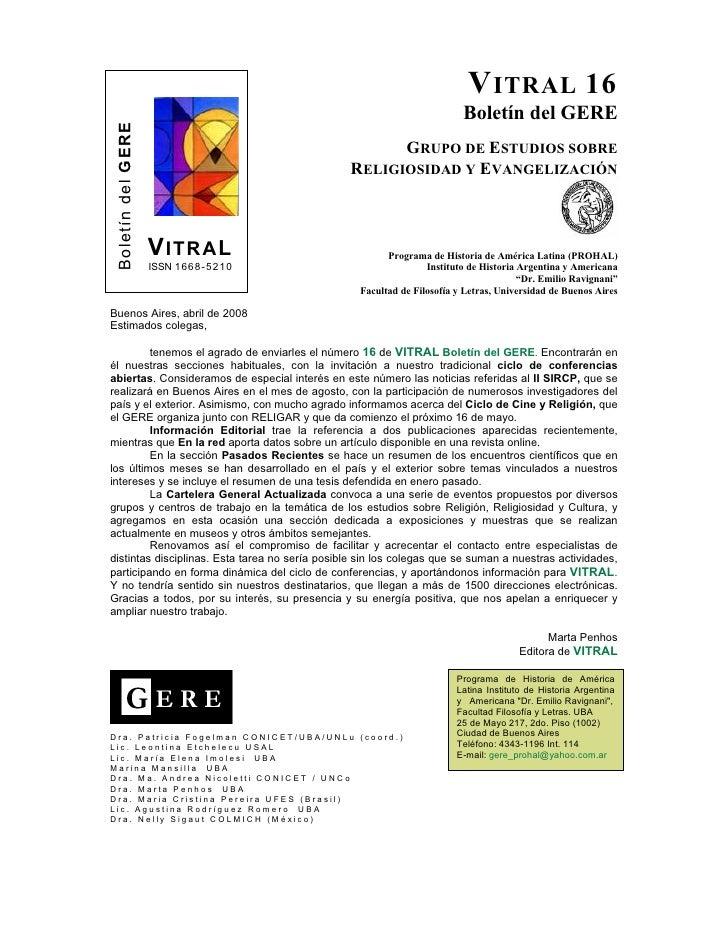 V ITRAL 16                                                                          Boletín del GERE  Boletín del GERE    ...