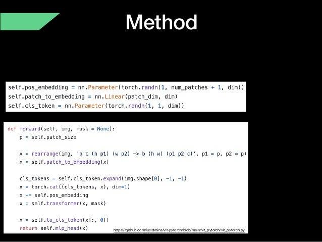Method https://github.com/lucidrains/vit-pytorch/blob/main/vit_pytorch/vit_pytorch.py
