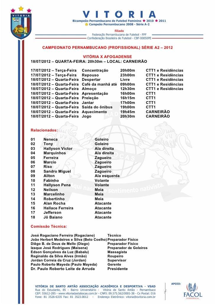 CAMPEONATO PERNAMBUCANO (PROFISSIONAL) SÉRIE A2 – 2012                        VITÓRIA X AFOGADENSE18/07/2012 – QUARTA-FEIR...