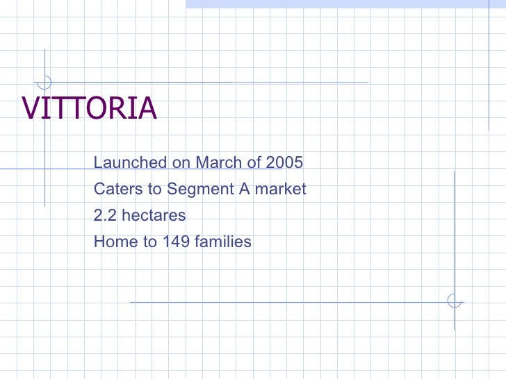 VITTORIA Launched on March of 2005 Caters to Segment A market 2.2 hectares Home to 149 families