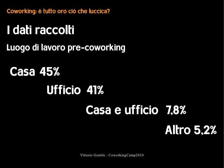Coworking: è tutto oro ciò che luccica?   I dati raccolti Luogo di lavoro pre-coworking   Casa 45%        Ufficio 41%     ...