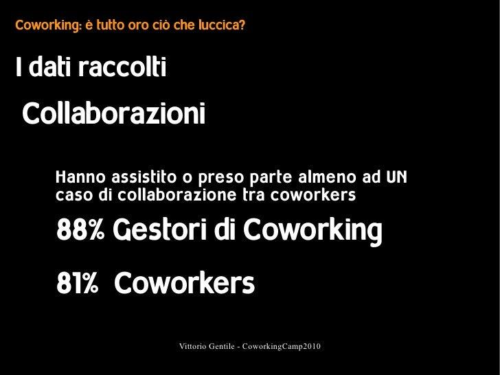 Coworking: è tutto oro ciò che luccica?   I dati raccolti  Collaborazioni       Hanno assistito o preso parte almeno ad UN...