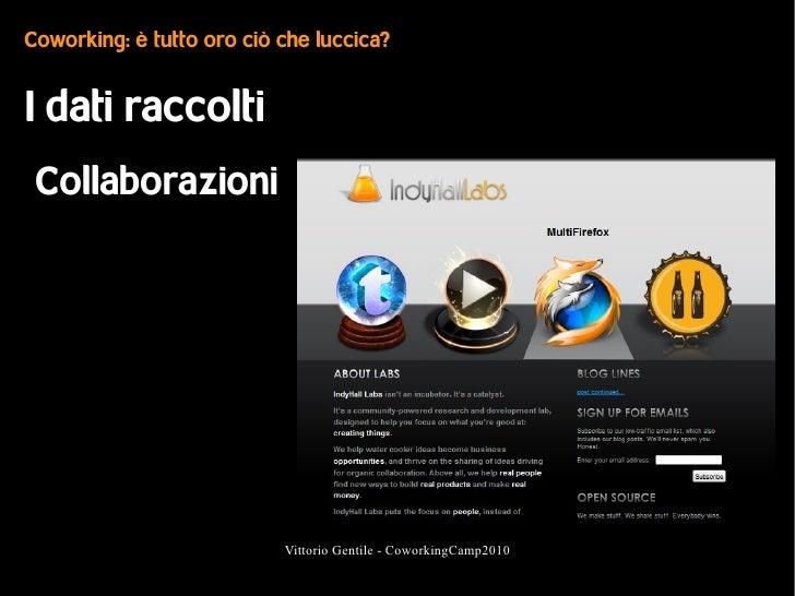 Coworking: è tutto oro ciò che luccica?   I dati raccolti  Collaborazioni                                Vittorio Gentile ...