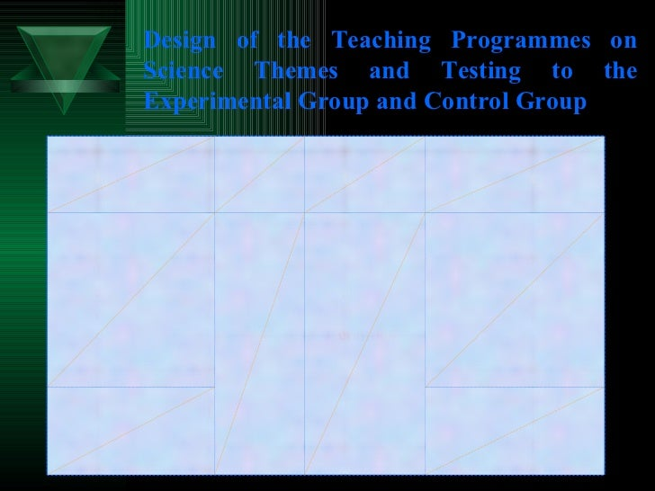 Design of the Teaching Programmes on Science Themes and Testing to the Experimental Group and Control Group 2. Achievement...