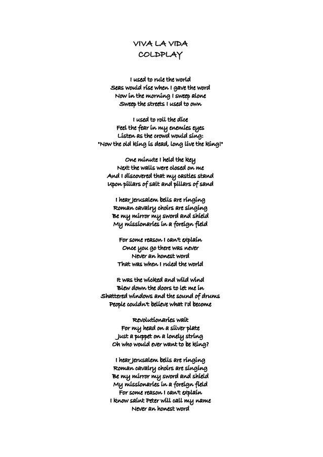 Lyric coldplay viva la vida lyrics : Viva la vida. Coldplay