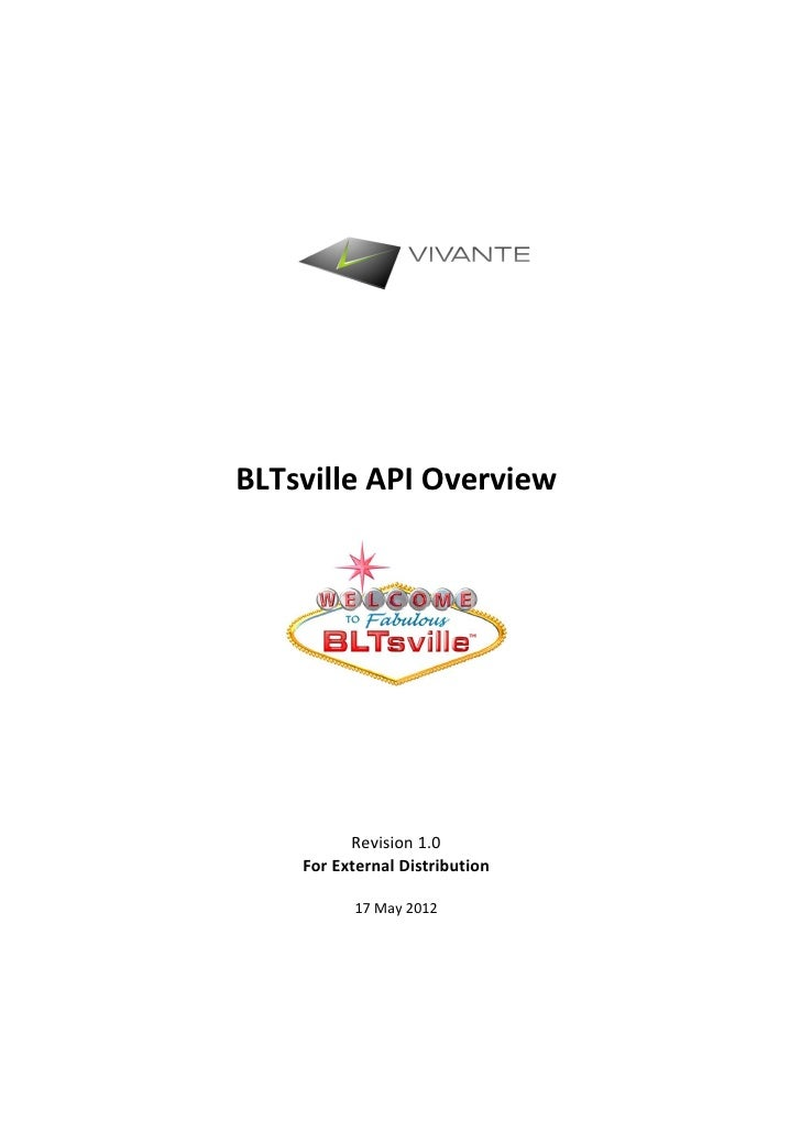 BLTsville API Overview          Revision 1.0    For External Distribution          17 May 2012