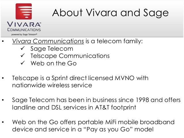 powered by Sage Telecom® About Vivara and Sage • Vivara Communications is a telecom family:  Sage Telecom  Telscape Comm...