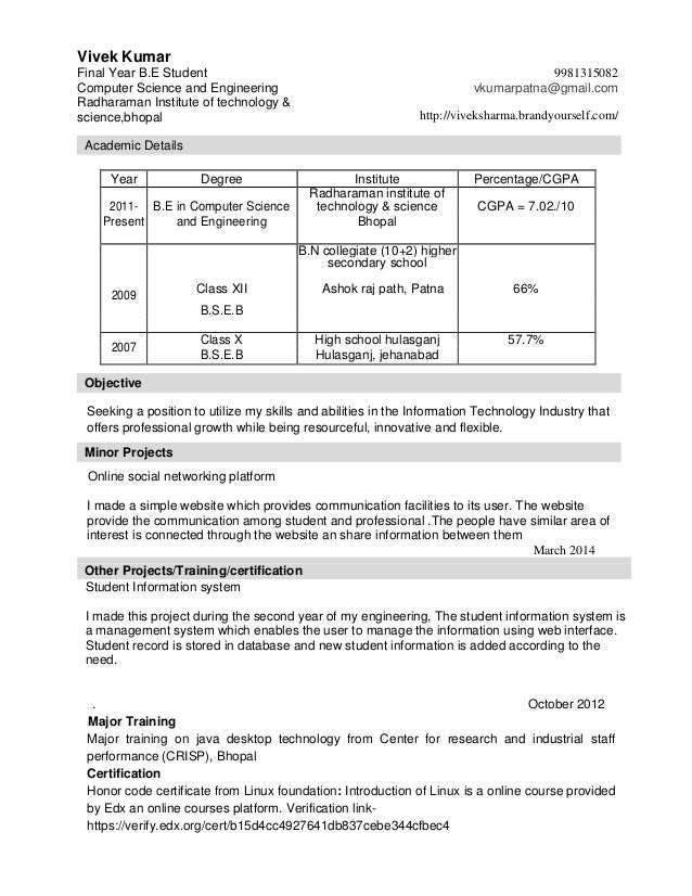 resume for final year engineering student