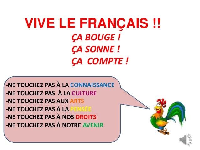 VIVE LE FRANÇAIS !! ÇA BOUGE ! ÇA SONNE ! ÇA COMPTE ! -NE TOUCHEZ PAS À LA CONNAISSANCE -NE TOUCHEZ PAS À LA CULTURE -NE T...