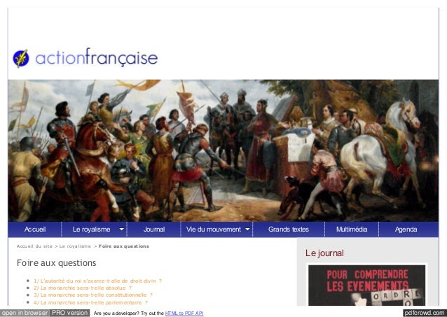 pdfcrowd.comopen in browser PRO version Are you a developer? Try out the HTML to PDF API Accueil du site > Le royalisme > ...