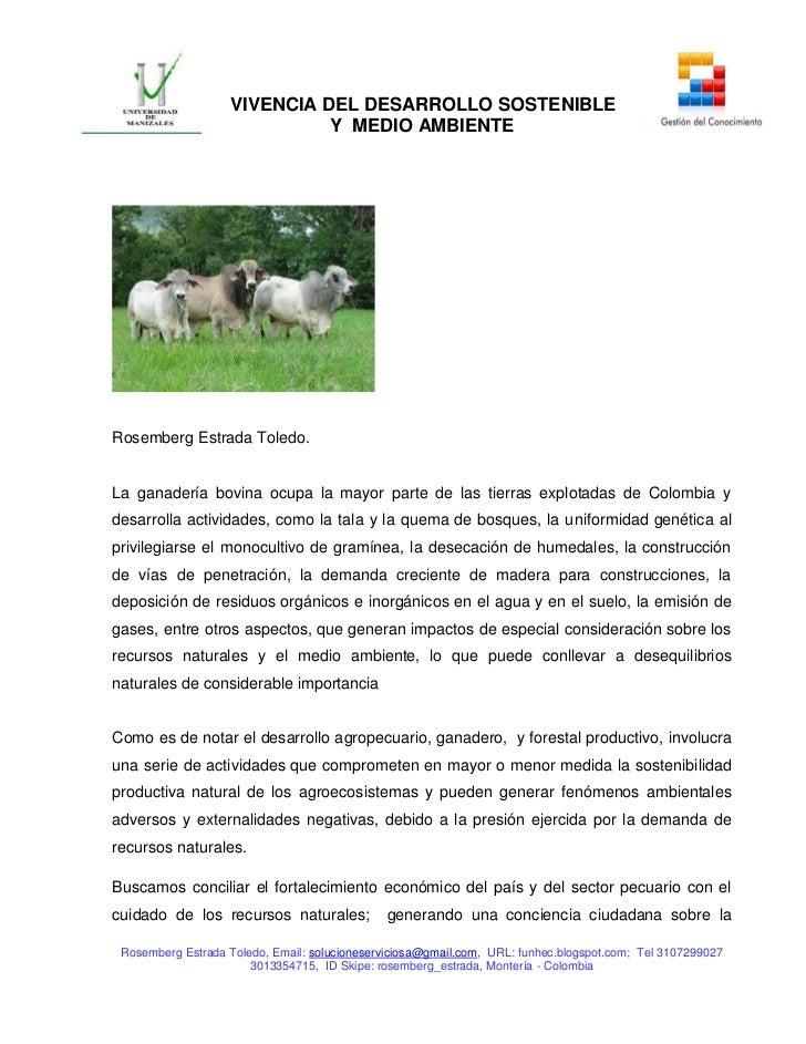 VIVENCIA DEL DESARROLLO SOSTENIBLE                             Y MEDIO AMBIENTERosemberg Estrada Toledo.La ganadería bovin...