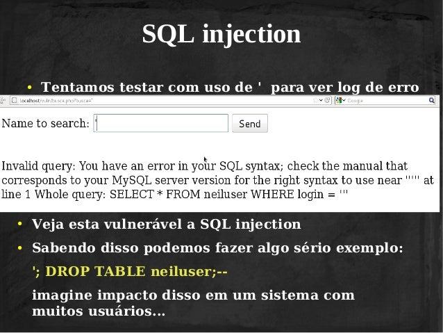 Vivendo de hacking - Sql injection drop table example ...