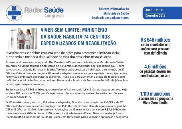 Radar Saúde  Congresso  Boletim informativo do Ministério da Saúde destinado aos parlamentares  VIVER SEM LIMITE: Ministér...