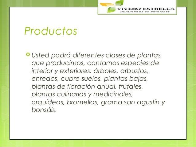 Productos Usted podrá diferentes clases de plantas que producimos, contamos especies de interior y exteriores: árboles, a...