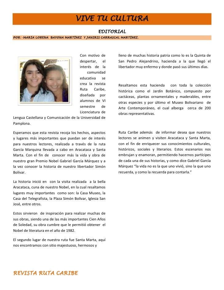 VIVE TU CULTURA                                                     EDITORIALPOR: -MARÍA LORENA BAYONA MARTÍNEZ Y JANIRIS ...