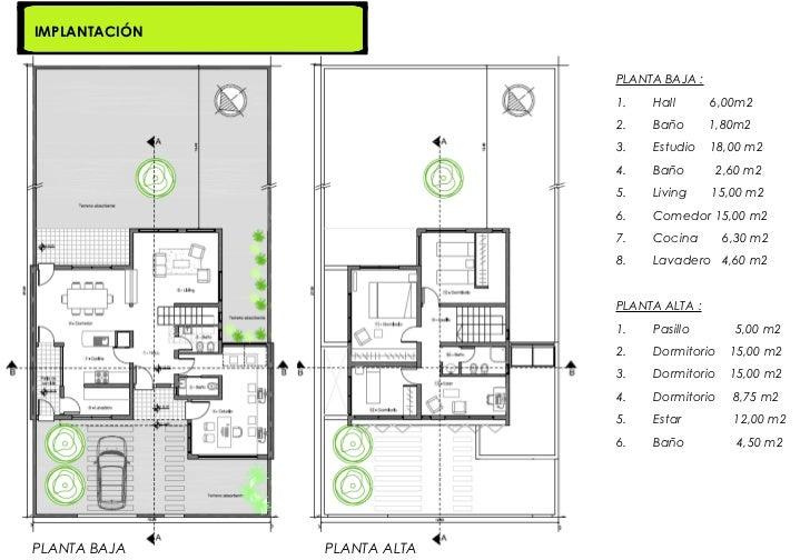 Vivienda estudio branchini vanesa for Planos de viviendas de una planta