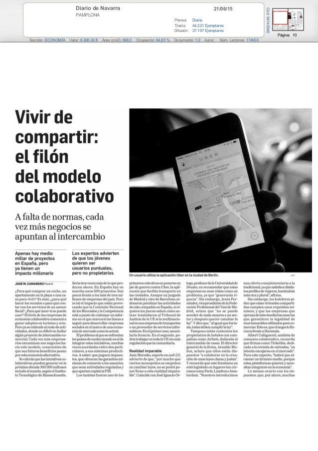 21/06/15Diario de Navarra PAMPLONA Prensa: Diaria Tirada: 44.221 Ejemplares Difusión: 37.167 Ejemplares Página: 10 Sección...