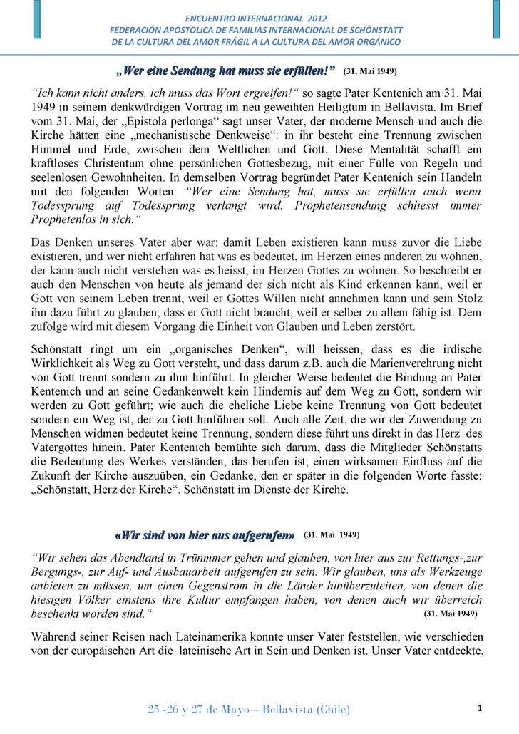 ENCUENTRO INTERNACIONAL 2012                FEDERACIÓN APOSTOLICA DE FAMILIAS INTERNACIONAL DE SCHÖNSTATT                D...