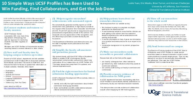 10  Simple  Ways  UCSF  Profiles  has  Been  Used  to   Win  Funding,  Find  Collaborators,  and...