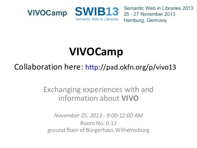 Semantic Web in Libraries 2013 25 - 27 November 2013 Hamburg, Germany  VIVOCamp  VIVOCamp Collaboration here: http://pad.o...