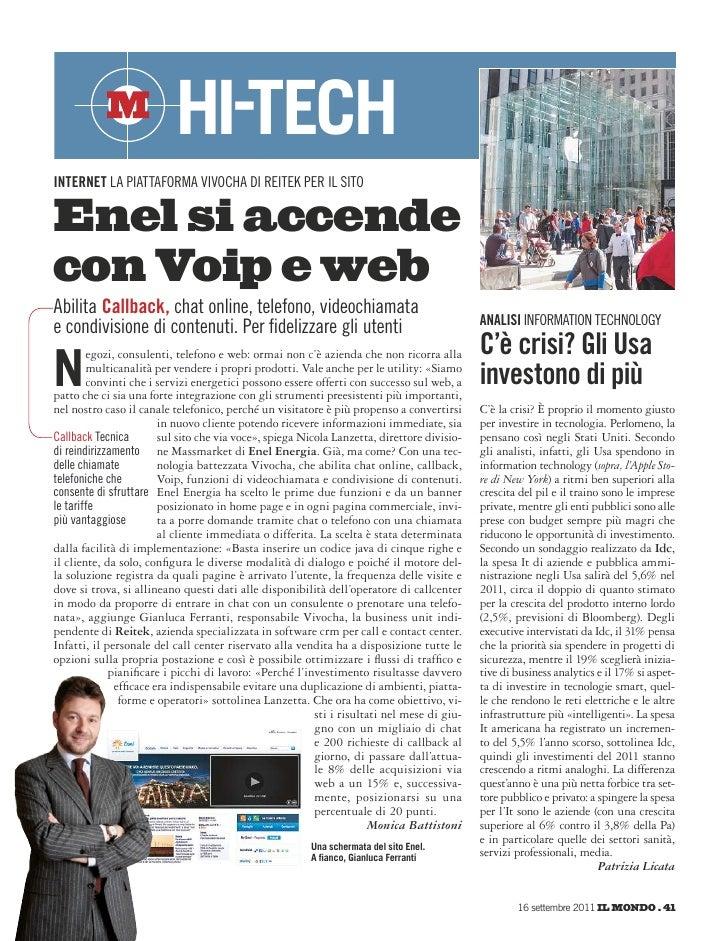 hi-techinternet la piattaforma vivocha di reitek per il sitoEnel si accendecon Voip e webabilita Callback, chat online, te...