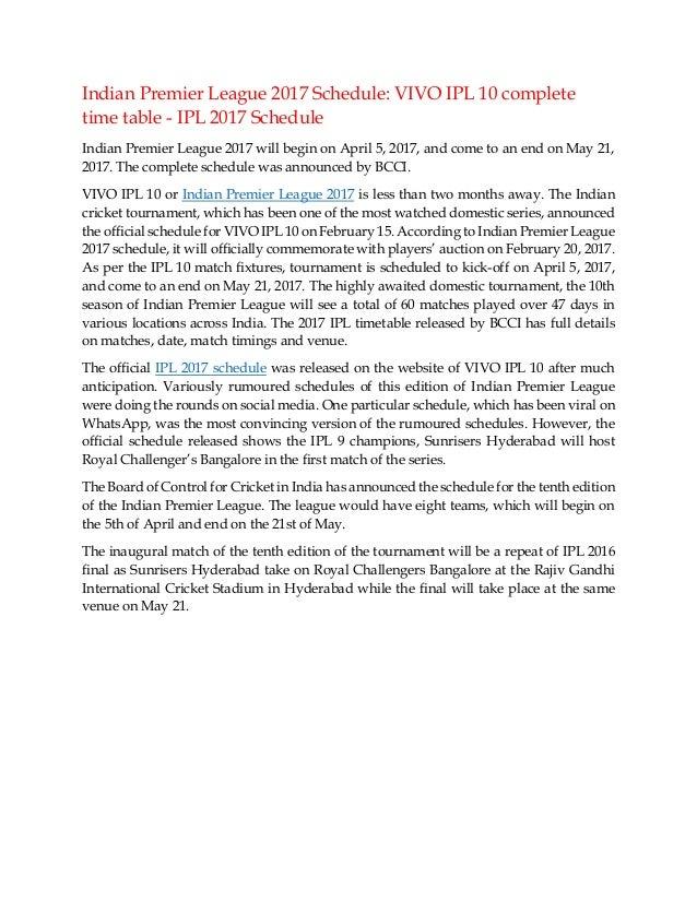 VIVO IPL 2017 Schedule announced: Download VIVO IPL 10