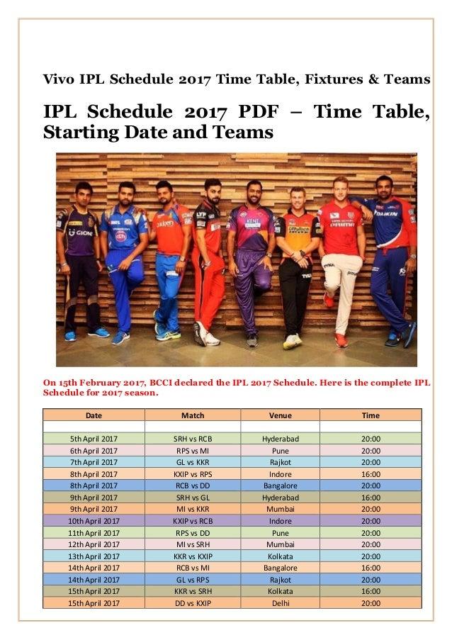 Ipl 2015 Schedule Time Table Ipl Pdf Fixtures