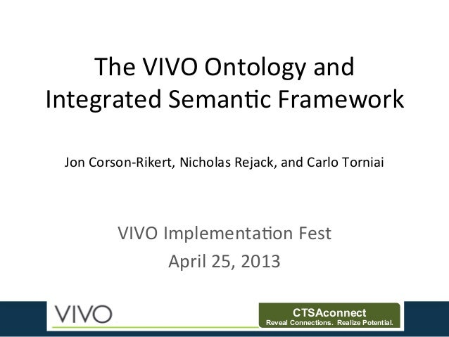 CTSAconnectReveal Connections. Realize Potential.The	  VIVO	  Ontology	  and	  Integrated	  Seman3c	  Framework	  VIVO	  I...