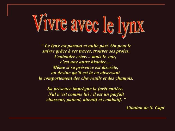 """Vivre avec le lynx """"  Le lynx est partout et nulle part. On peut le suivre grâce à ses traces, trouver ses proies, l'enten..."""