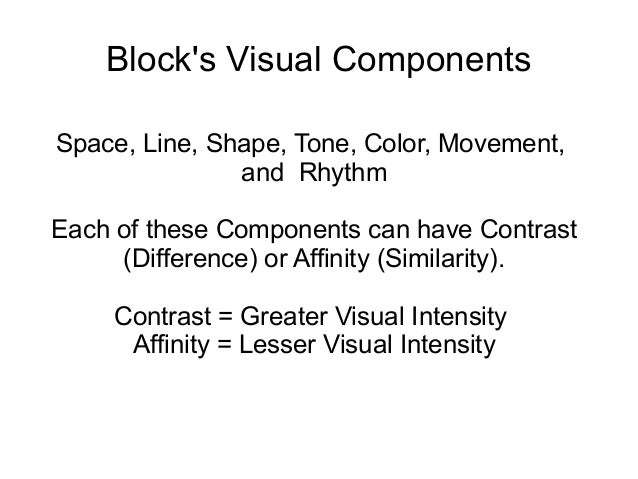 Block's Visual Components Space, Line, Shape, Tone, Color, Movement, and Rhythm Each of these Components can have Contrast...