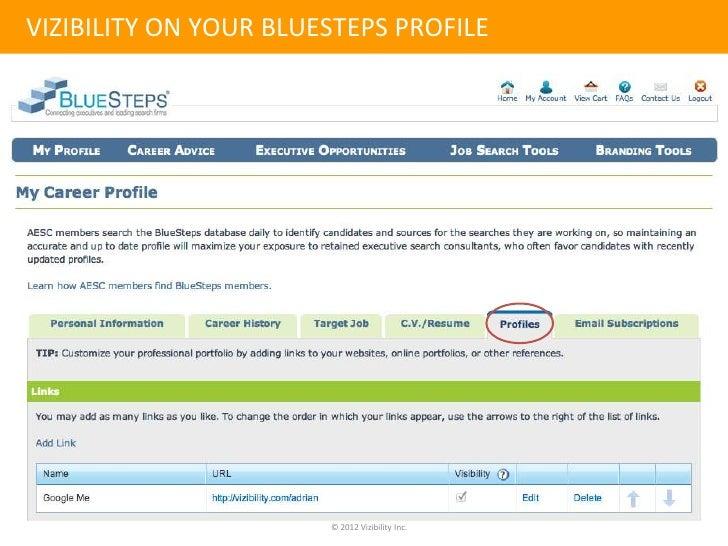 vizibility on your bluesteps profile