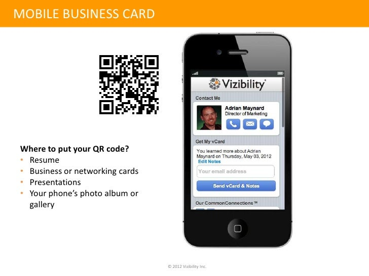 Mobile business cardwhere to put colourmoves