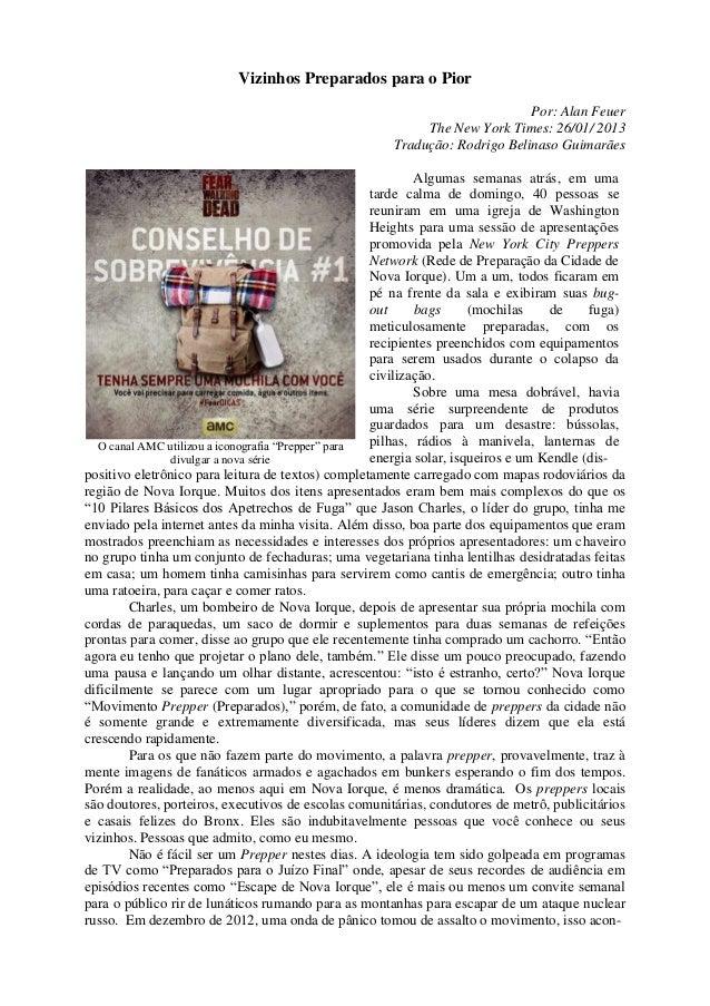 Vizinhos Preparados para o Pior Por: Alan Feuer The New York Times: 26/01/ 2013 Tradução: Rodrigo Belinaso Guimarães O can...
