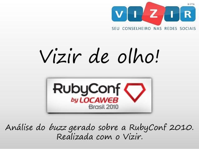 Vizir de olho! Análise do buzz gerado sobre a RubyConf 2010. Realizada com o Vizir.
