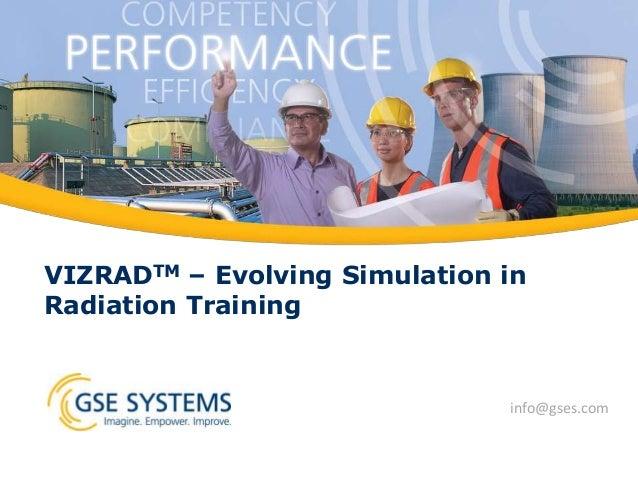 VIZRADTM – Evolving Simulation in Radiation Training info@gses.com