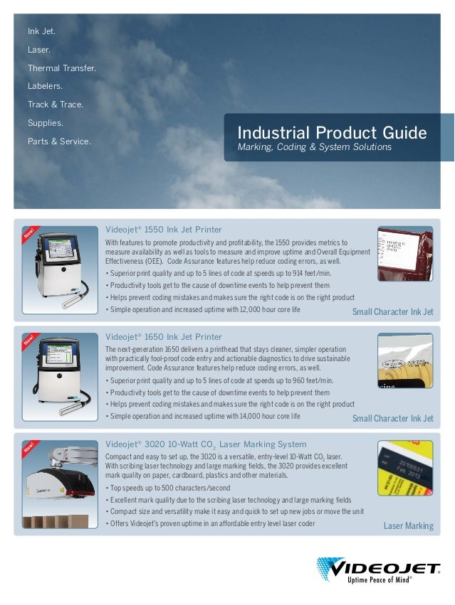 Industrial Product Guide Marking, Coding & System Solutions Ink Jet. Laser. Thermal Transfer. Labelers. Track & Trace. Sup...