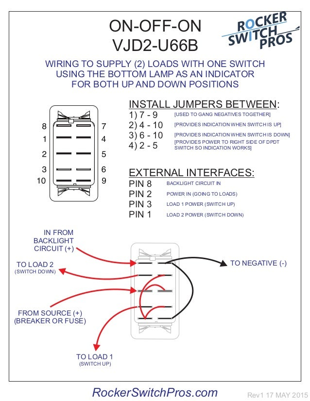 How to wire an ON-OFF-ON switch for both backlighting and indication