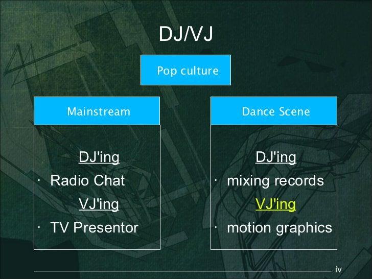 DJ/VJ                   Pop culture      Mainstream                   Dance Scene       DJing                        DJing...