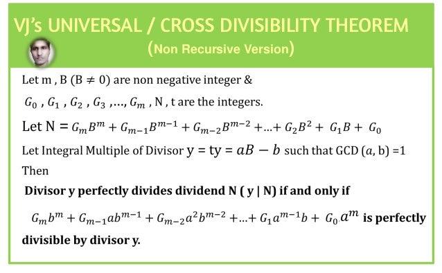 3.2 - 13.2 - 1 VJ's UNIVJRSAL / CROSS DIVISIBILITY THJORJM (Non Recursive Version) 𝑎 𝑚