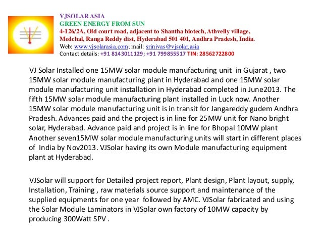 VJSOLAR ASIA GREEN ENERGY FROM SUN 4-126/2A, Old court road, adjacent to Shantha biotech, Athvelly village, Medchal, Ranga...