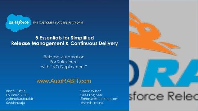 Vishnu Datla Simon Wilson Founder & CEO Sales Engineer vishnu@autorabit Simon.w@autorabit.com @vishnuraja @seedaccount Rel...