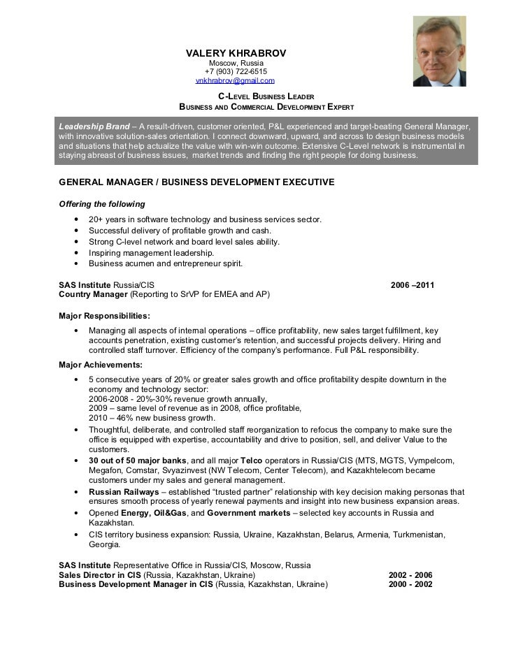valery khrabrov resume c level business leader