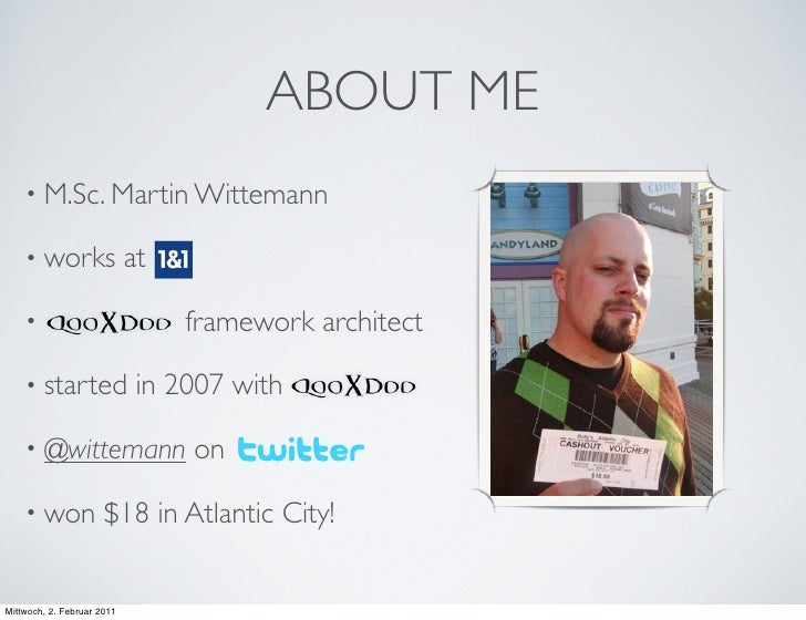 ABOUT ME    • M.Sc. Martin Wittemann    • works                 at    •                            framework architect    ...